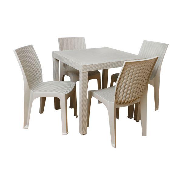 Combo de Comedor Ratán + 4 sillas Corsa Beige