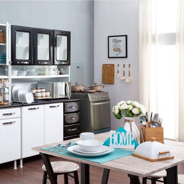 Mueble de Cocina Blanco con Negro